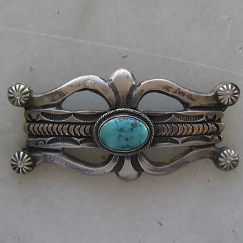 Sandcast sterling Navajo pin - Native American