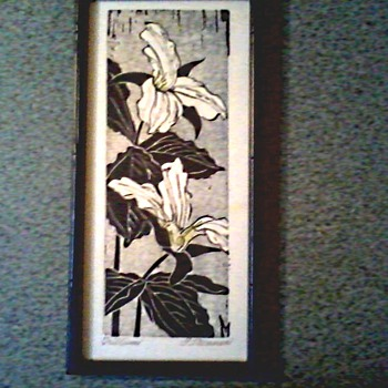 "Framed Wood Block Print "" Trillium"" by Fannie Rebecca Mennen  (1903 - 1995)/ Circa 1975"