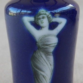 Antique Fedora Miniature Cobalt Blue Vase - Pottery