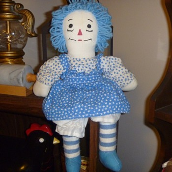 Blue Homemade Raggedy Ann Doll