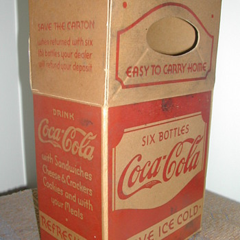 1930's Six Bottle Cardboard Carrier - Coca-Cola