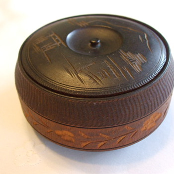Antique Japanese Sandalwood TOBACCO BOX with Mount FUJI