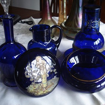 Cobalt Glass Vanity Box Hand Painted Lady