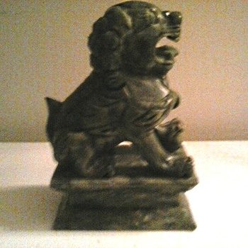 "Heavy 6"" Spinach Green Stone Foo Dog / Unknown Maker and Age"
