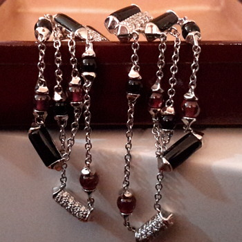 Deco style 14ct onyx ruby and diamond drop/dangle screw back earrings