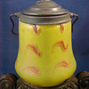 Rindskopf Art Glass Biscuit Jar with Feathered Variant.