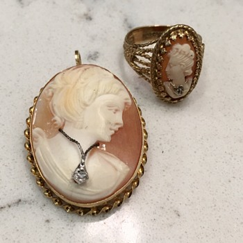 Vintage cameo and ring set