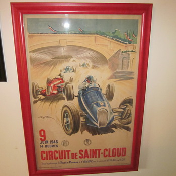 An original 1946 Circuit De Saint-Cloud Poster Advertisment - Posters and Prints