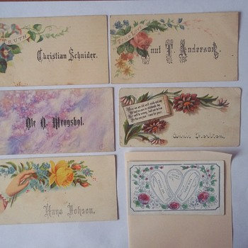 """Older, Simpler """"CALLING CARDS"""" 1880s, With Some Sentimental Sayings - Cards"""