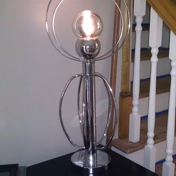 Atomic style chrome globe lamp?