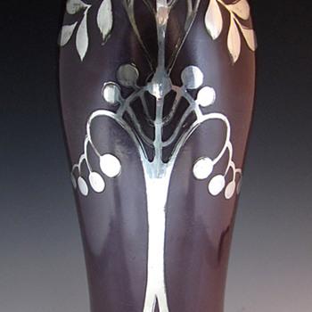 German/Bohemian Purple & Secessionist Silver Overlay Art Glass Vase - Art Nouveau