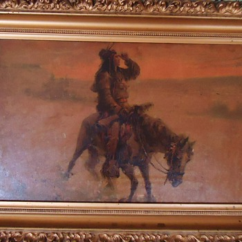 Indian on horse print or painting? - Native American