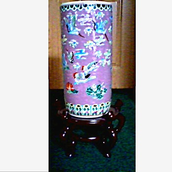 "Chinese 18 1/2"" Cylinder Vase-Umbrella Stand / Late 20th Century - Asian"