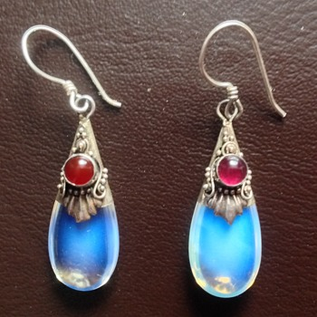 Antique Silver Moonstone Earrings - Fine Jewelry