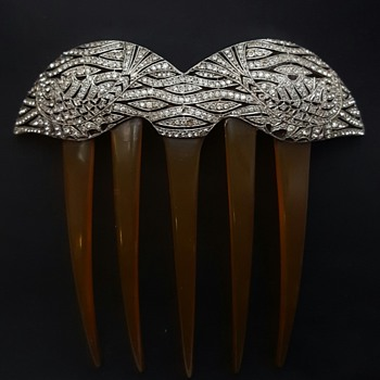Art deco French Charles Beaufils silver, blonde turtle shell and paste comb.