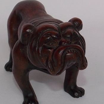 carved wood vintage bulldog