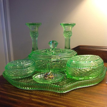 Uranium Glass Dressing table set - Glassware