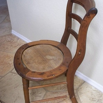 Handmade Primitive Potty Chair -  Carved initials:  KK or YK??  1800s?