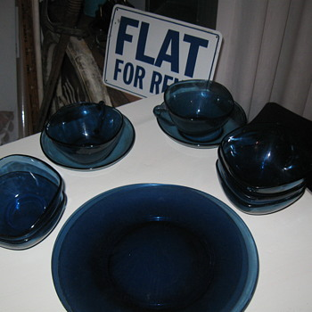 Mom's 70's Cobalt Blue Dishes