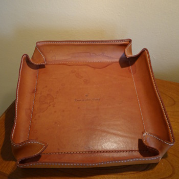 VINTAGE ARTE & CUOIO  FOR  ERMENEGILDO ZENGA  LARGE LEATHER TRAY