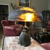 1900's Handel lamp with a glass shade reverse painted.