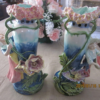 MY MATCHING MAJOLICA VICTORIAN VASES MADE BY UNKNOWN
