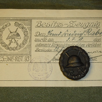 WWI German Wound Badge and Certificate - Military and Wartime