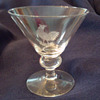 Martini glass with etched rooster
