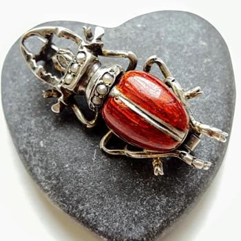 Antique stag beetle brooch, silver, enamel, pearls.