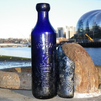 Peter Thornton cobalt blue cylinder South Shields - Bottles