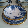 Beautiful Grape leaves design Bowl and Plate Set with Gold Nubbed Edges