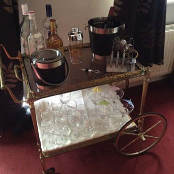 Brass tea trolley bar cart glass shelves  - Kitchen