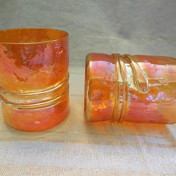 Esteban Prieto's Iridescent Marigold Signed Art Glass Drink Glasses