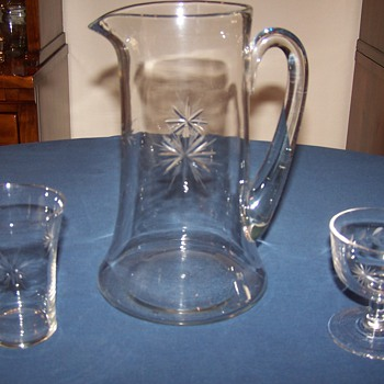 My Grandmothers Beautiful Pitcher and Glasses - Glassware