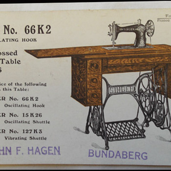 2 SINGER SEWING MACHINE POST CARDS ADVERISING - BUNDABERG  &  SCOTTISH exhibition  1908 - Postcards