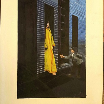 Early Original Painting by Tony Vecchio - Mid-Century Modern