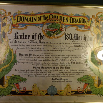 1945 Domain Of The Golden Dragon Plaque/Certificate - Posters and Prints