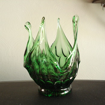 Fenton pulled glass thumbprint vase