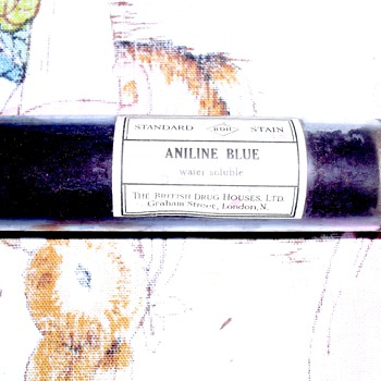 Aniline Blue glass bottle.