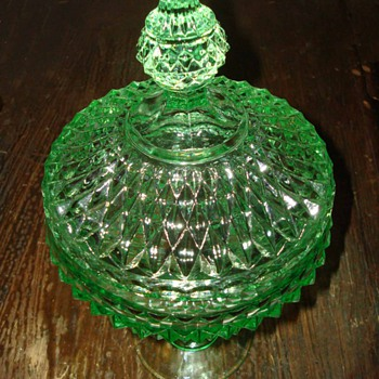 Apple Green Diamond Pattern Compote with Lid - Glassware