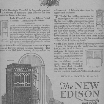 1919 - Edison Phonograph Advertisement - Advertising