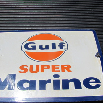 latest Gulf super marine gas pump sign - Petroliana
