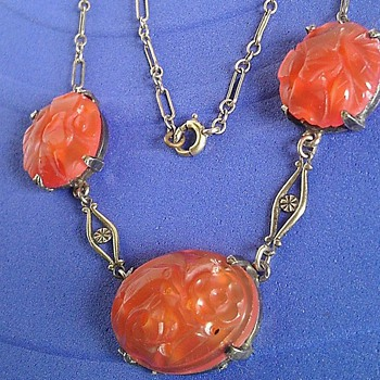 Art Deco Carnelian sterling silver necklace