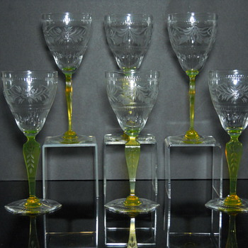 Hand Cut Vaseline Glass Stems