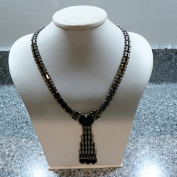 1930's Jakob Bengel Mauerwerk Chrome and Black Galaith Necklace