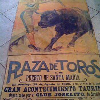 1926 PLAZA DE TOROS BULL FIGHTING POSTER PAINTED  - Posters and Prints