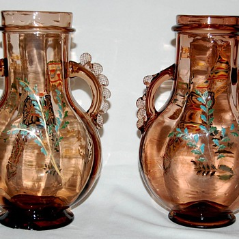 Pair of Auguste Jean glass vases  - Art Glass