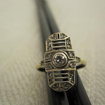 Art deco 15 carat gold, platinum and diamond ring - Fine Jewelry