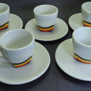 Five Espresso Cups and Saucers ACF Made in Italy