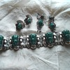 Mexican Silver and Green Stone Tiki bracelet and earrings